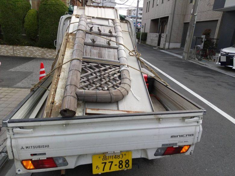 軽トラック 積載後 物置 袖垣