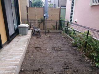 1Fお庭のウッドデッキ解体後