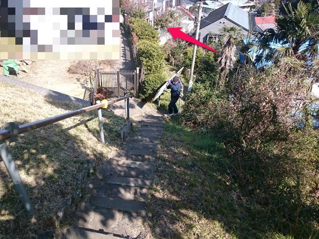 階段を登る!