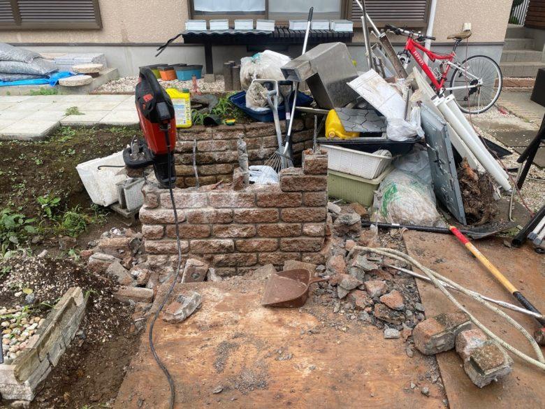 ブロック塀も解体