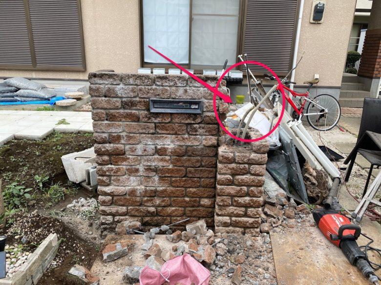 門柱から解体